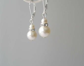 Ivory Pearl Earrings, Pearl and Crystal Earrings, Bridal Earrings, Simple Earrings, Bridesmaid Gift, Swarovski, Cream Pearl Jewelry