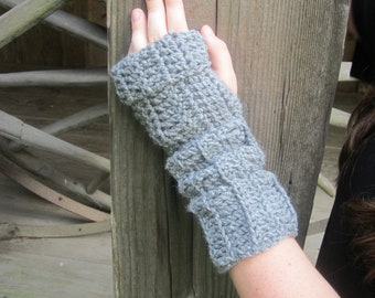 heather gray fingerless gloves