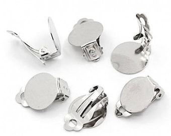 5 pairs of clip on earrings round tray (pr 14 / 15mm)