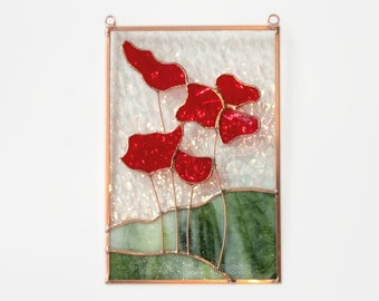 Poppies Stained Glass Sun Catcher Panel Red Poppy Stained Glass Mothers Day Handmade OOAK