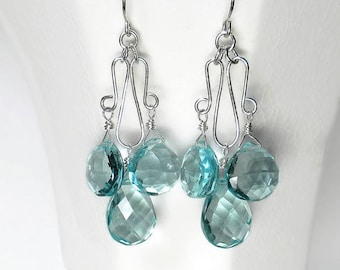 Blue Chandelier Earrings Aquamarine Chandelier Earrings Aqua Earrings Blue Drop Earrings Sterling Silver
