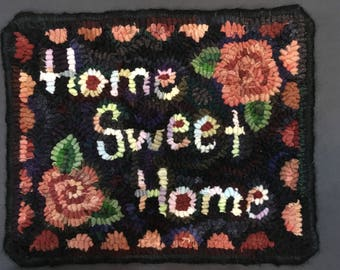 """9.5"""" x12"""" hand hooked wool wall hanging"""