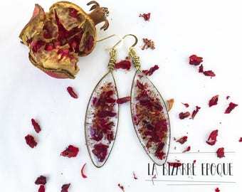 Pendant earrings with ruby red pomegranate seeds-botanical jewels with real flowers-resin jewellery-nature lovers