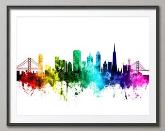San Francisco Skyline v2, San Francisco California Cityscape Art Print (2632)