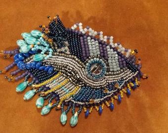 Bird's eye view,  bead embroidered bracelet