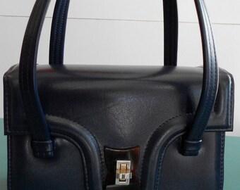 Classic 1950s Vintage Handbag in Navy