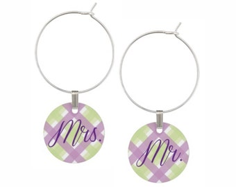Mr. and Mrs. Wine Charms, Bride Groom Wine Charms