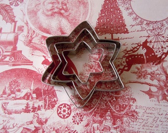 3 Metal Christmas Star Holiday Cookie Cutters Fondant Cookie Cutter Lot