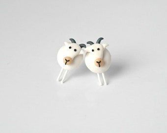 White goat - Farmer Collection earrings