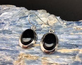 Black Onyx Earrings // 925 Sterling Silver // Bezel Oval Setting // Black Onyx Earrings