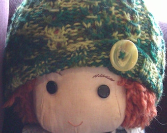 Hand knit toddler beanie in a green blend acrylic with button