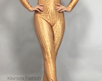 Wooden Statue. Catsuit Costume for dancers Circus performers