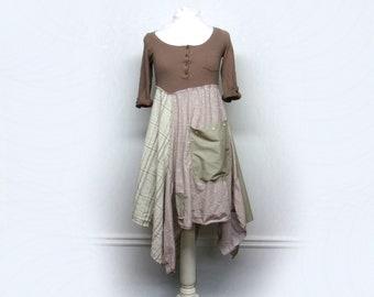Shabby Chic Dress, Mori Girl, Romantic Clothing, Boho Chic Clothing, Bohemian Clothing, Lagenlook Style, Sustainable Upcycled Clothing