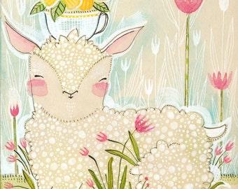 Easter Art Print, Decoration, Spring Lamb  8 x 10 watercolor illustration Animal Themed Nursery Baby Room Seasonal Decorating Ideas