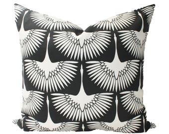 Decorative Designer Genevieve Gorder Black Outdoor Pillow Cover, 18x18, 20x20, 22x22 or Lumbar Pillow Cover