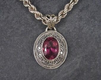 Vintage 90s Bright Pink Quartz Pendant Necklace