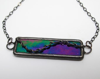Andromeda - Stained Glass Statement Necklace with Sterling Silver Chain