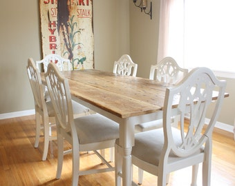 Farm Table with Reclaimed Wood Top