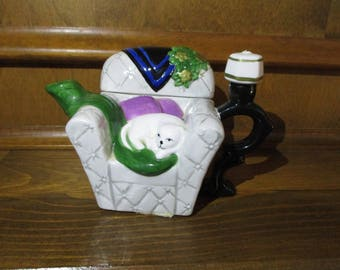 Vintage HH Houston Harvest Collectible Ceramic Creamer Chair with Cat Resting on the Chair