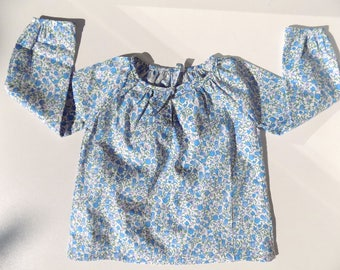 printed shirt, blouse, liberty, baby girl, cotton, blue shirt, long sleeves, 6 months baby clothing, shirt 12 months old baby, baby fashion, handmade
