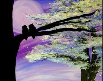 Tranquility print, image of original artwork, owls, sweet, romantic