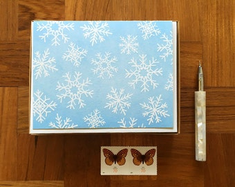 Snowflake Pattern, Boxed Set of 8, Letterpress Holiday Cards, Blank Inside