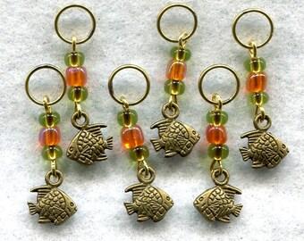 Goldfish Knitting Stitch Markers PhatFiber Under The Sea Theme Set of 6/SM101