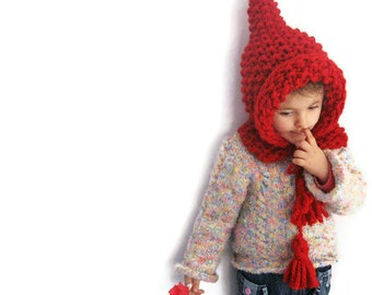 Winter Children Hat, Red Elf Pixie Pointed Hat ELFICA, Chunky Wool Costume by Solandia, Christmas Gift