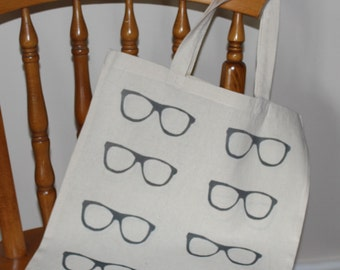 Hand stamped glasses print tote bag