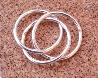 Simple Rustic Trois Intertwined Thick Rings - Sterling Silver