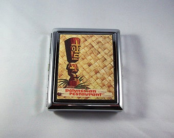 retro tiki metal wallet vintage Fifties rockabilly cigarette case Hawaii kitsch