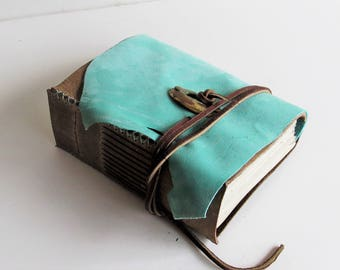"""The """"Noveler Series"""" - Handmade Leather Journal, Leather Bound Book, Writer's Journal with Parchment Paper, Aqua Leather  5"""" x 6"""""""