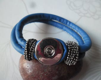 x 1 blue snap 21 cm leather bracelet