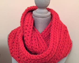 crochet chunky cowl/scarf in a pretty raspberry