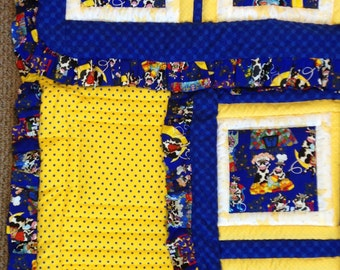 Baby Cow crib quilt, polka dot, flannel blanket, ruffled quilt, blue & yellow, cow characters, polka dot flannel quilt, ready to ship