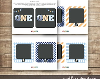 1st Birthday Photo Banner / First Year Photo Banner / Boy's First Birthday Banner / Photo Banner for First Year  - Printable