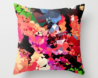 Geometric Pillow Cover- Multicolored Pillow Cover- 18x18 Geometric Throw Pillow Cover- Decorative Pillow Cover - Pink Pillow Cover
