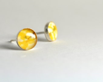 SPRING. Petite Photo post earrings. Sterling Silver.