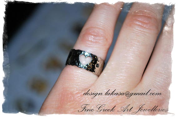 Heart Chevalier Ring Sterling Silver white Gold plated Rhinestone Crystal black Handmade Jewelry Best Gift Ideas for her Birthday Girl Woman