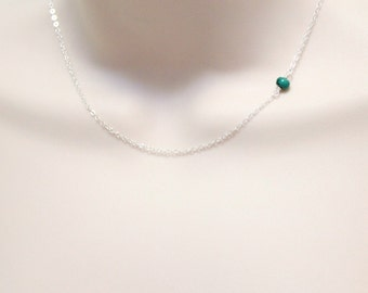 Turquoise Necklace, Sideways Necklace, Minimalist Necklace, Delicate Necklace, Dainty Necklace, Tiny Silver Necklace, Single Stone Necklace
