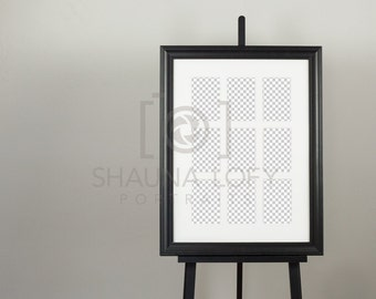 Black Frame with 9up Mat on Easel - Product Mock Up - Photoshop CS3 - CS6
