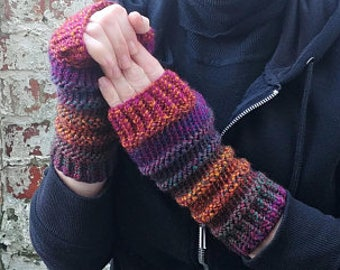 Fingerless gloves . Knit gloves . Knit wrist warmers armwarmers . Long colourful gloves . Festival clothes and accessories