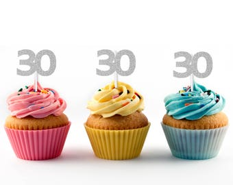30th Birthday Cupcake Toppers in Silver Glitter (12 count) Black Glitter and Gold Glitter