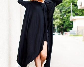 Black Loose Maxi Dress, Plus Size Dress, Party Dress, Extravagant Oversize Dress TDK29 by TEYXO