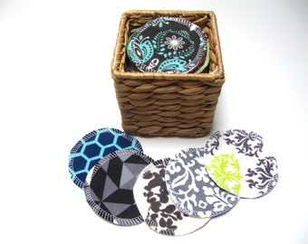 LARGE Reusable Facial Rounds, ADULT Print Rounds, 10 or 20 Makeup Remover Pads, Eco-Friendly Face Scrubbies 3 Inch Size