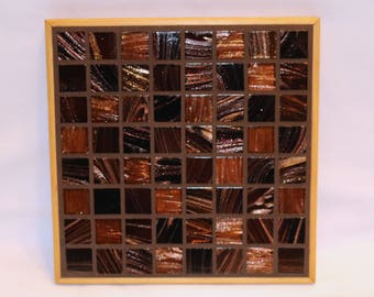 Brown and Gold Glass Tile Mosaic Trivet