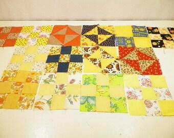 14 Yellow And Orange Patchwork Square Blocks, Supplies