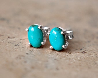 Tiny Turquoise Stud Earrings - Sterling Silver