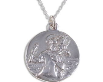 St Christopher pendant – Solid sterling silver pendant on sterling silver curb chain- Hand Made in UK