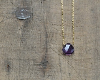 Single Amethyst Briolette on Gold Filled Chain